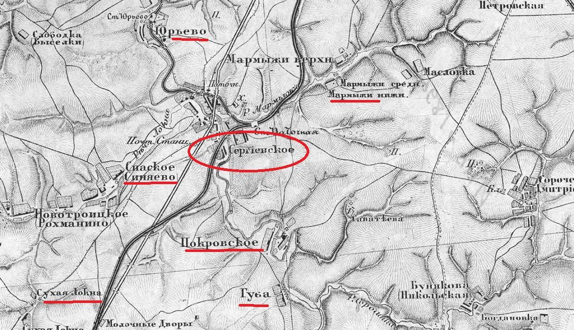 Представляю Вашему вниманию еще одну дореволюционную карту Тульской губернии на которой указано село Сергеевское.
